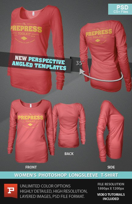 Ghosted Womens Long Sleeve T Shirt Bundle Photoshop Mockup Templates