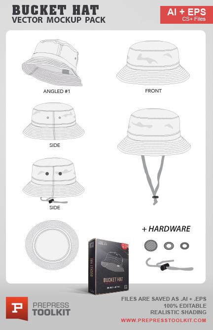 7d7d0f5ceb0 Vector bucket hat cap mockup template design