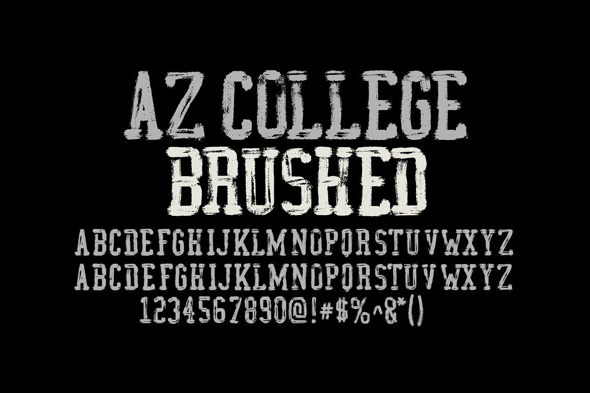 az college brushed font