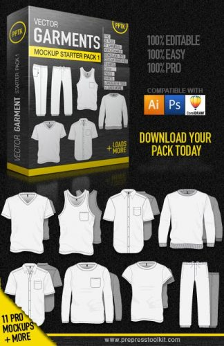Essential vector mockups starter pack 1, t-shirt, singlet, polo, jumper, hood, hoodie