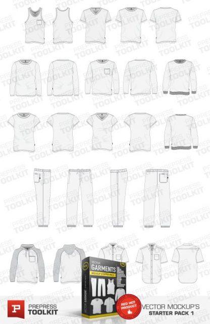Bundled collection of t-shirt polo hood jumper longsleeve mockup templates