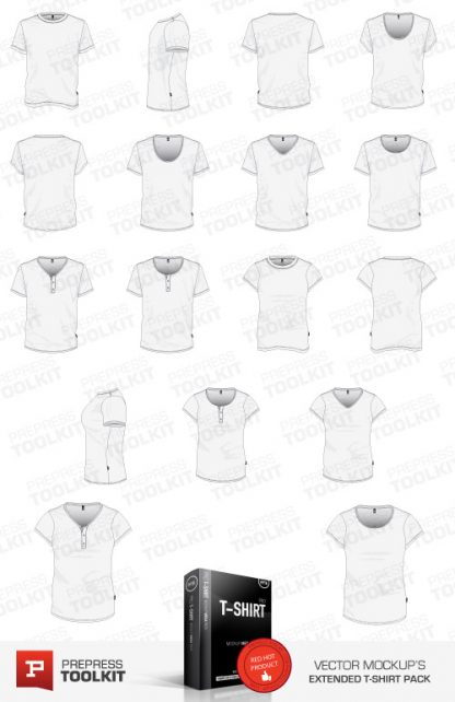 T-Shirt Template v-neck round neck scoop button mens womens t-shirt