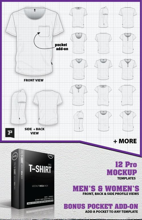 Vector t-shirt mockup mega pack promo