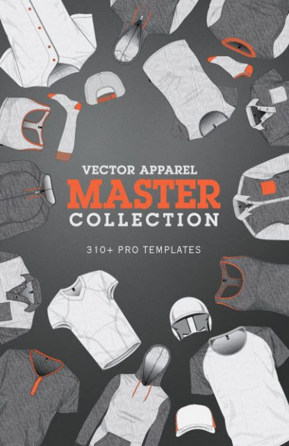 Vector Apparel Mockup Master Collection illustrator templates
