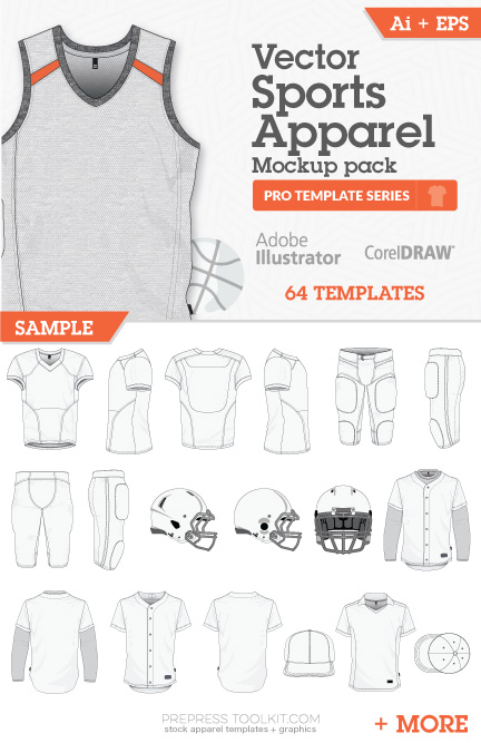 clothing templates for illustrator - football soccer apparel vector mockup template pack