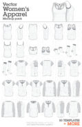 Vector Womens Apparel mockup templates Illustrator Corel 002