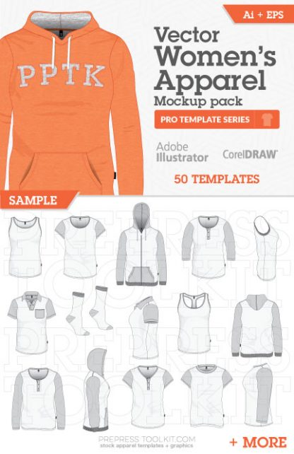 Vector Womens Apparel mockup templates Illustrator Corel 01
