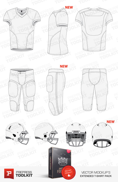 American Football Uniform Vector Mockup Template Pack