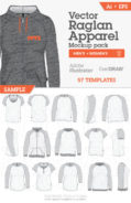 mens womens raglan garment templates 01
