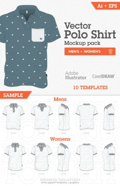 mens womens vector polo shirt drawn