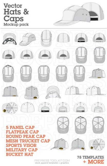 vector hat mockup templates curved peak 5 panel 002
