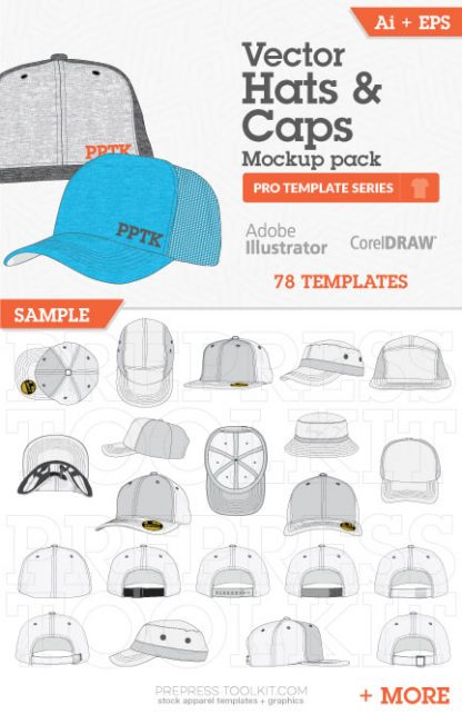 vector hat mockup templates snapback flat peak 01