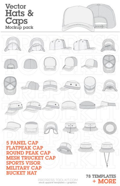 vector hat mockup templates trucker visor military 003
