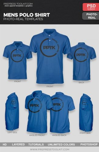 Mens polo shirt template psd ghosted photo real