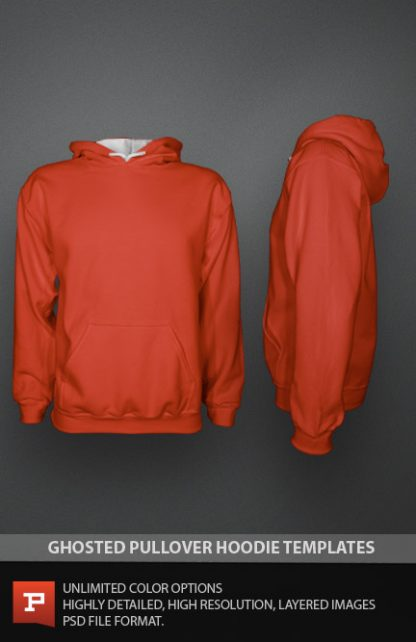 Ghosted Photorealistic Pullover Hoodie Template PSD Mens