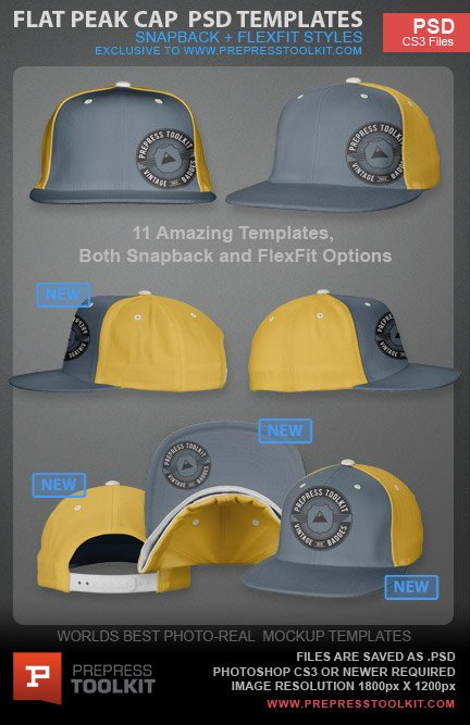 Flat Peak Flexfit Snap Back Cap Hat Photoshop Template PSD