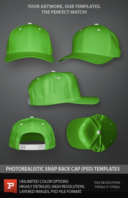 Snap Back Cap Flexfit Photoshop PSD Template Layered file