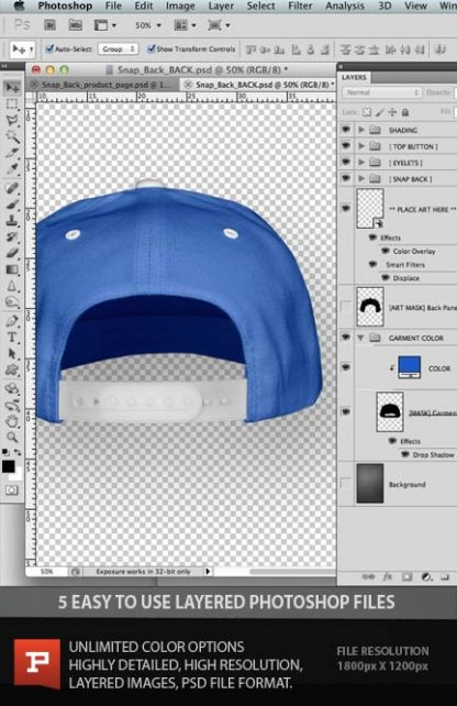 Snap Back Hat layered photoshop template file