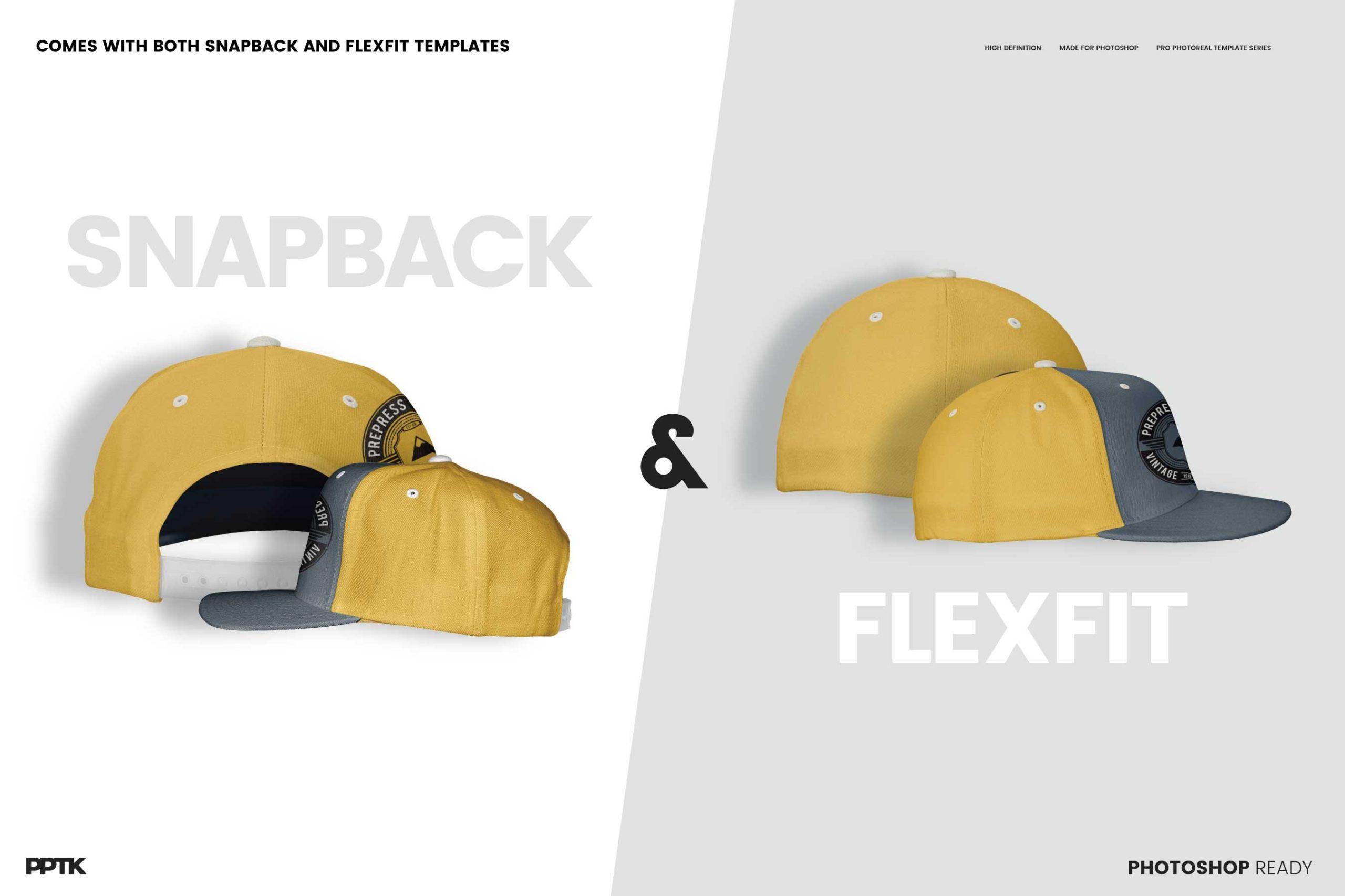 example of flat peak hat mockup