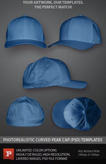Flexfit Curved Peak Cap Hat photoshop template layered psd mockup
