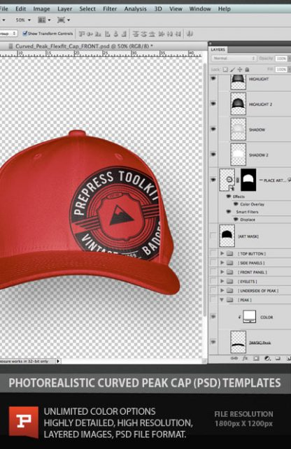 Flexfit Curved Peak Cap Hat photoshop layered template psd mockup