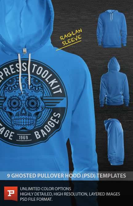 ghosted photorealistic raglan pullover hood psd template