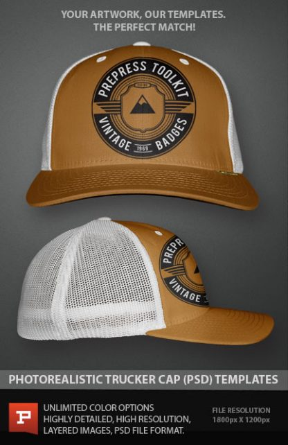 photo real flexfit style trucker cap template mockup layered PSD