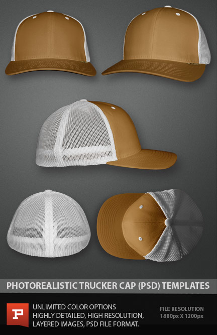 photorealistic flexfit style trucker cap template file photoshop