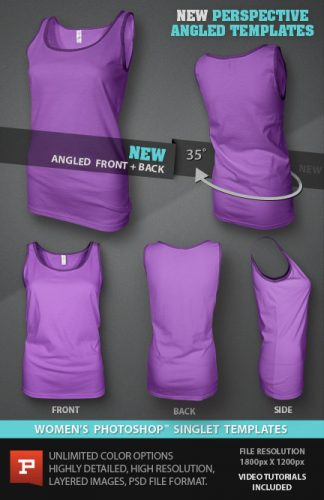 Womens blank Singlet template ghosted photoshop file download