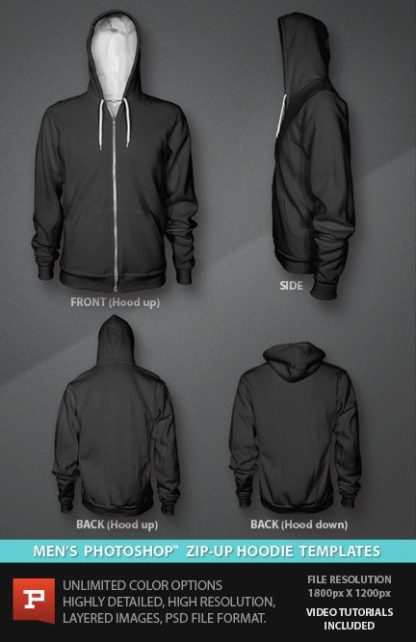 Mens Zip Up Hoodie photoshop template design