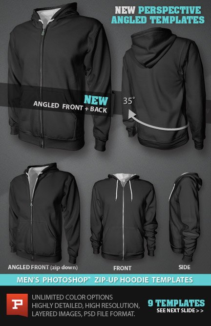 Mens blank Zip Up Hoodie mockup template PSD files