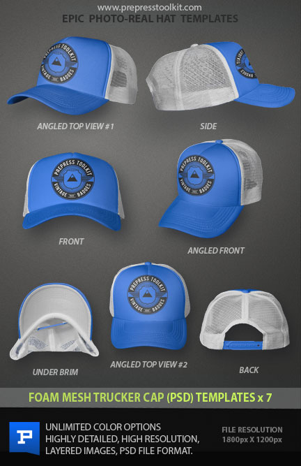 Foam Mesh Trucker hat cap blank template psd file