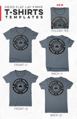 Mens Flat Lay T-shirt Templates photoshop