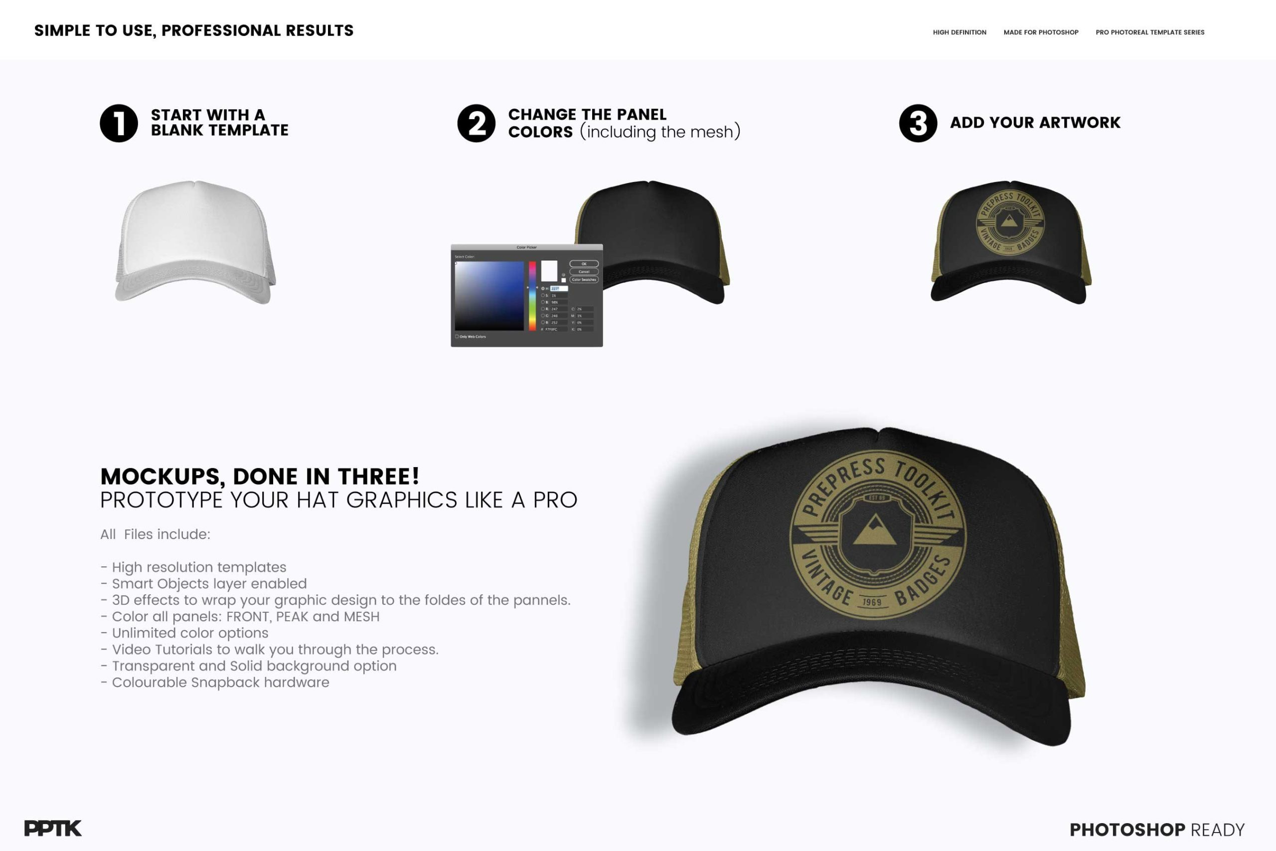 how to add artwork trucker hat mockup