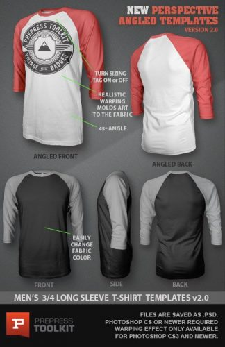 Mens 3/4 Long Sleeve T-shirt template photoshop file