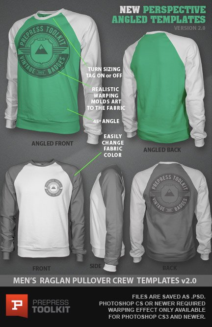 Mens Raglan Pullover Crew fleece mockup template photoshop