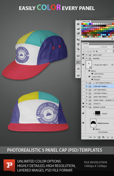 All new 5 Panel Cap Template Photoshop PSD