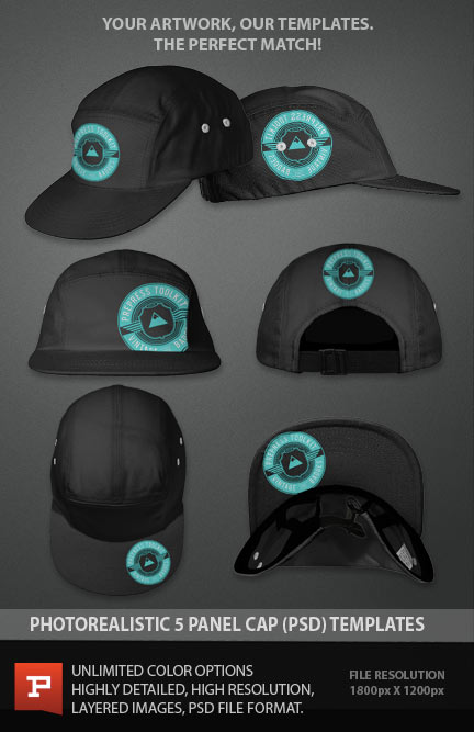 5 Panel Cap template photoshop psd download