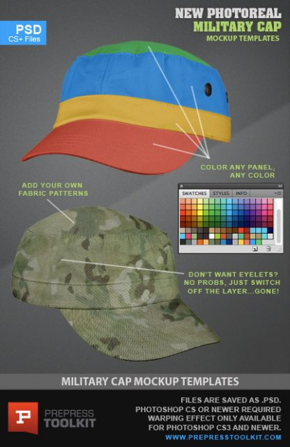 Military style cap photoshop mockup template psd