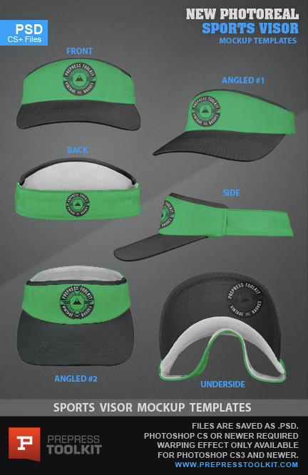 Sports Visor flexfit cap style mockup template