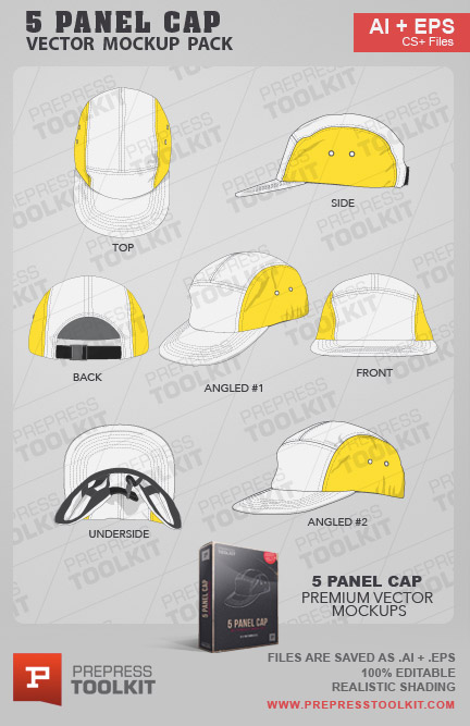 7e457fc7ab4 5 Panel Cap – Vector Mockup Template Pack