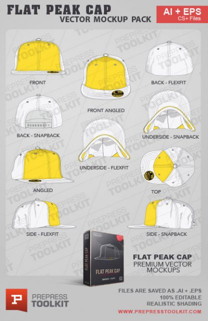 Vector Flat Peak Cap Hat Mockup Template Illustrator
