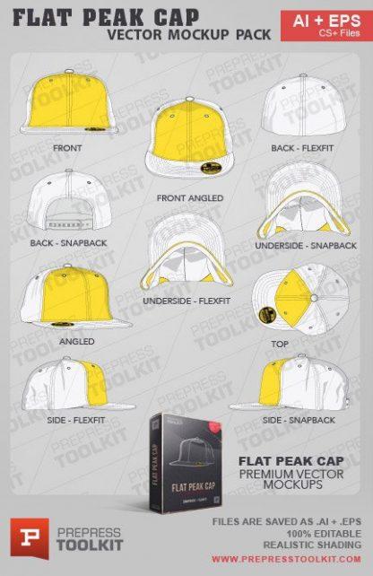 Vector Flat Peak Snapback Flexfit Cap Hat Mockup