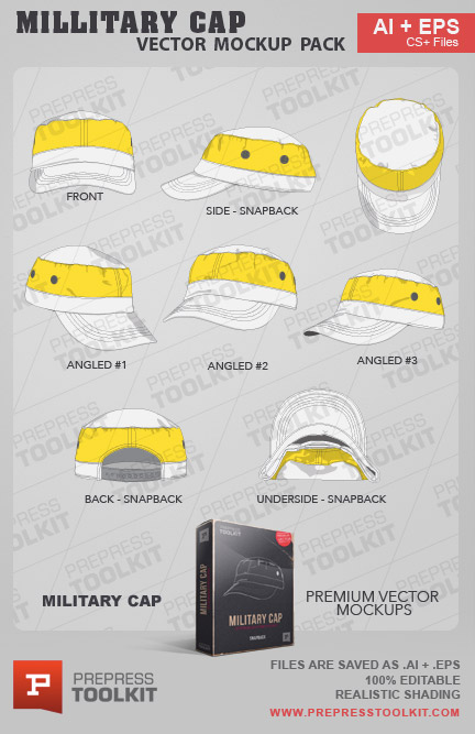 Vector Military Cap snapback mockup template illustrator