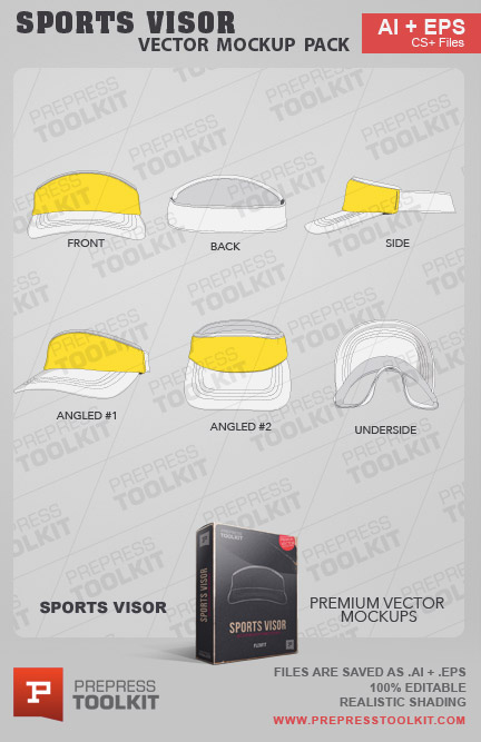 Vector Sports Visor flexfit cap Mockup Templae Illustrator Corel Draw