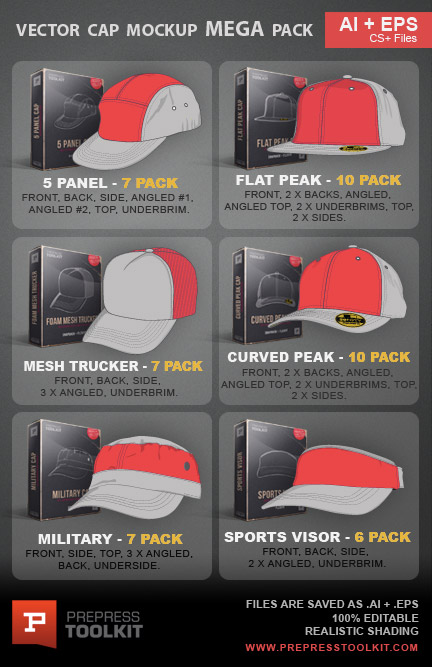 1c568a187df Vector caps hats mega mockup template pack