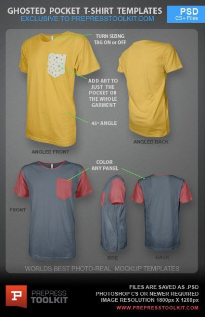photo real pocket t-shirt mockup template ghosted