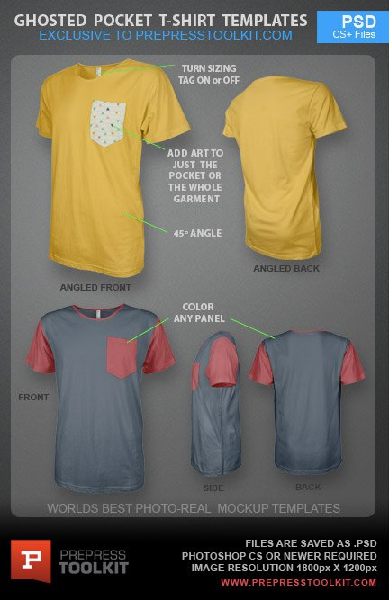 Photo Real Pocket T Shirt Mockup Template Ghosted