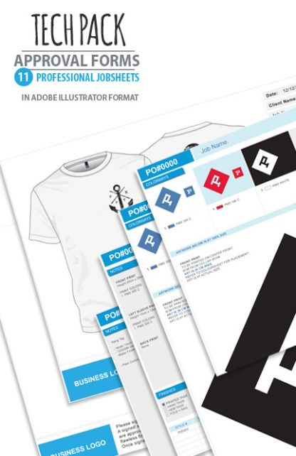 Apparel design Studio tech pack job sheets artwork approvals