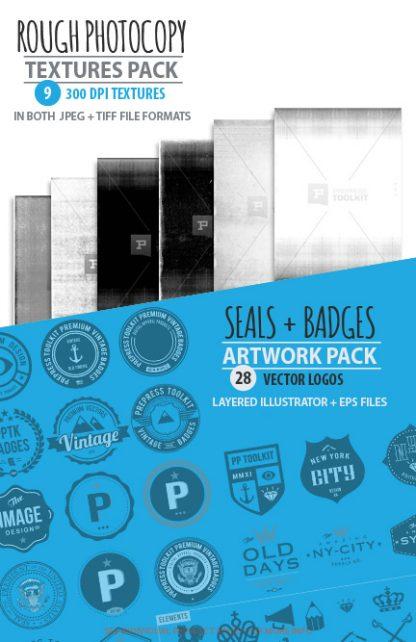 Apparel design Studio vector badges textures pack